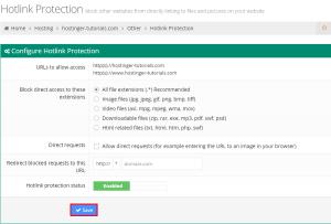 tela de configuração de proteção de hotlink
