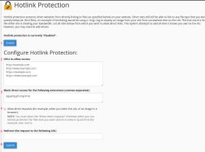 configuração de proteção de hotlink no cpanel