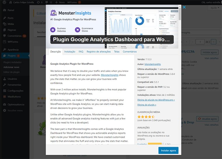 plugin monsterinsights para o google analytics