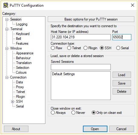 como usar o putty ssh - configuração