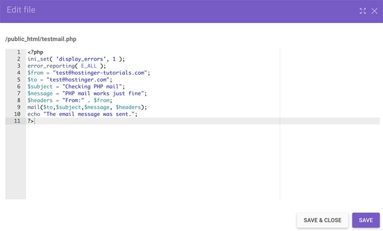 componentes básicos da função php mail() desenvolvida