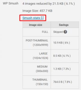 informações de otimização do plugin wp smush