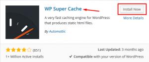 botão de instalar plugin wp super cache