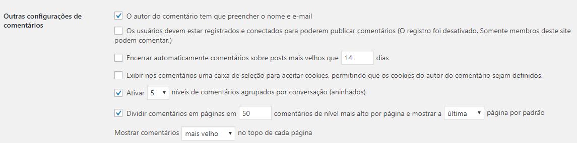 configuração de comentários por página no WordPress