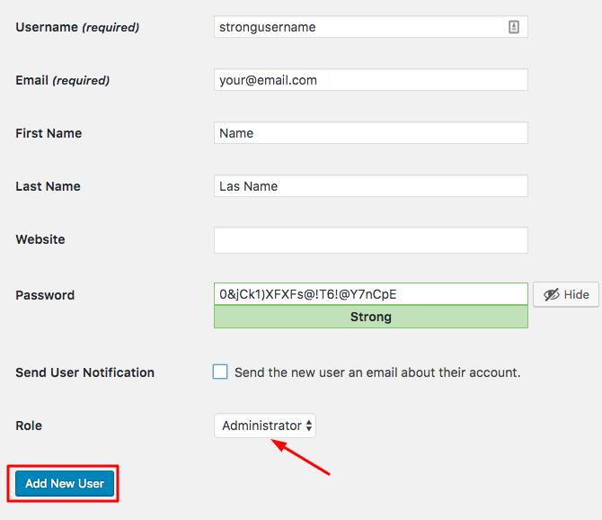 Criar novo usuário WordPress