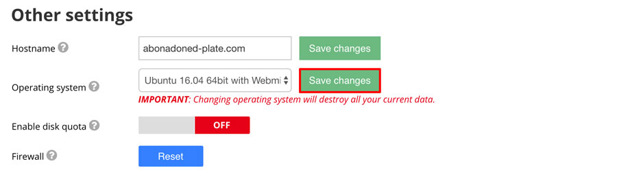 change-vps-template