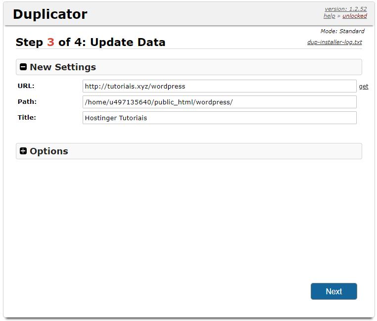 configurações do sei site após instalar duplicator