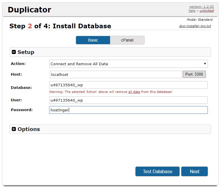 inserir dados de banco de dados na restauração do plugin duplicator