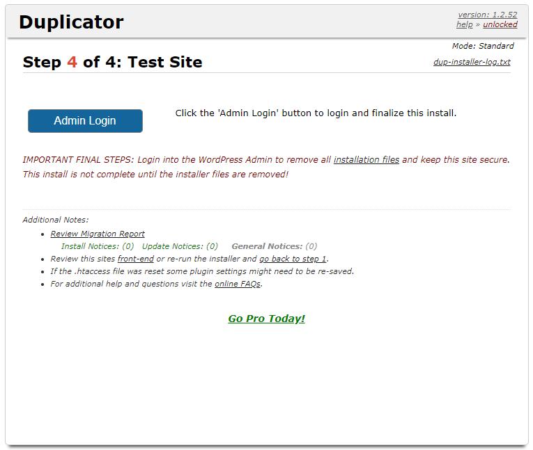 testar site configurado após instalar duplicator
