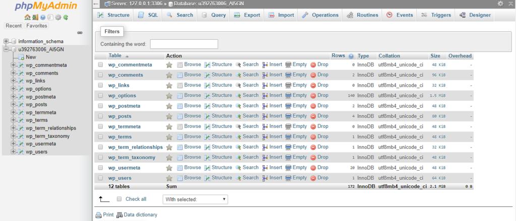 painel do banco de dados phpmyadmin