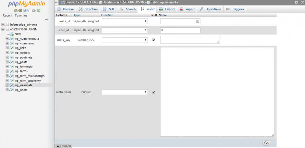 tabela dos metausers do banco de dados phpmyadmin