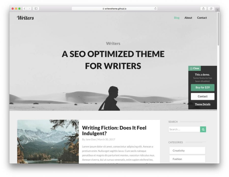 tema writers para wordpress