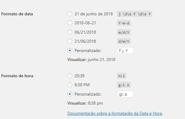 date format in the general settings of wp