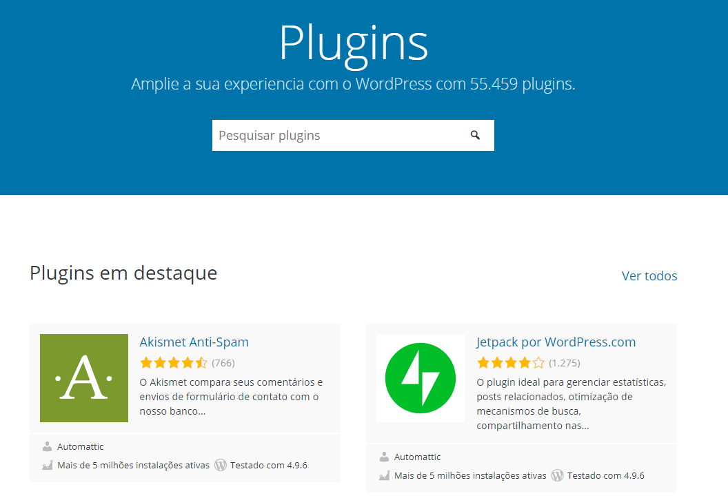 instalando os plugins no blog wp