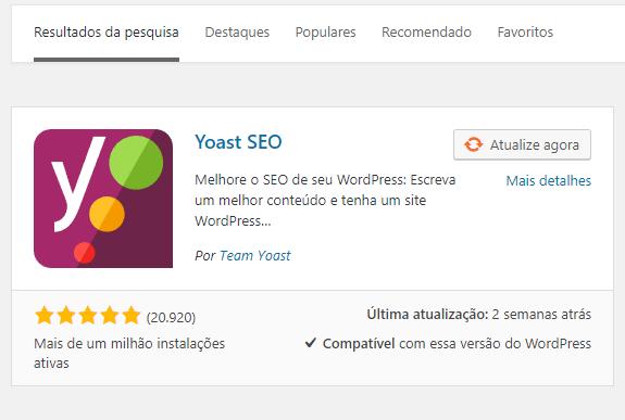 installing the plugin Yoast seo in wp