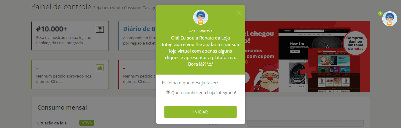 User onboarding - loja integrada