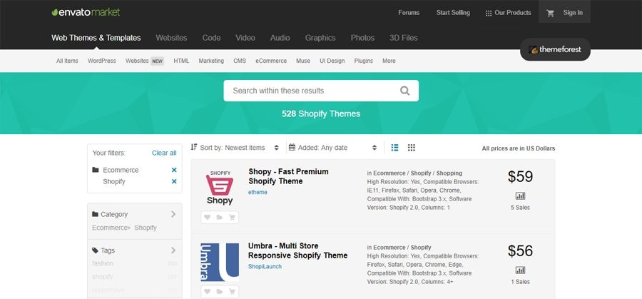 Shopify themes in
