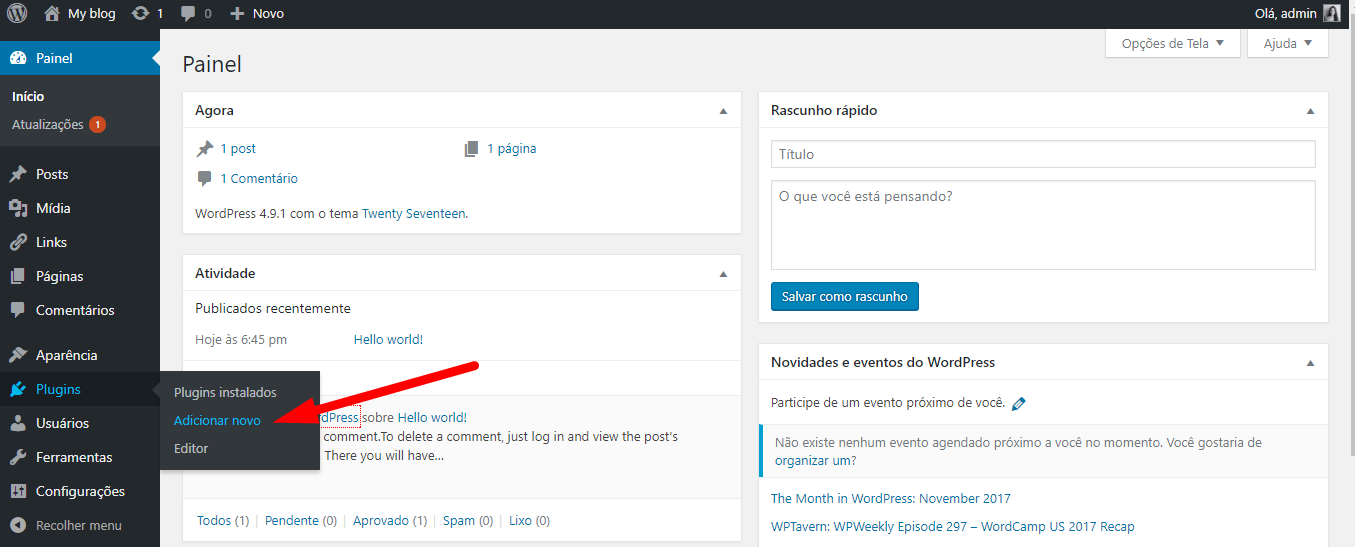 Adicionar novo plugin WordPress