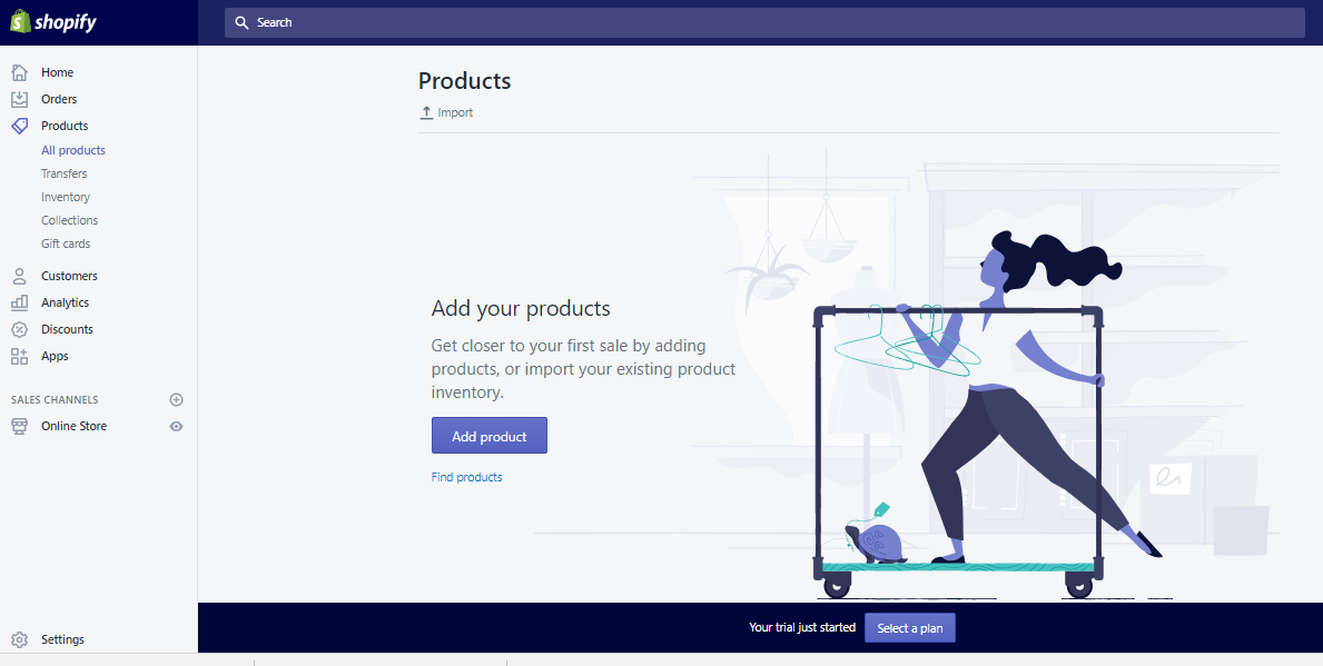 Add product in Shopify