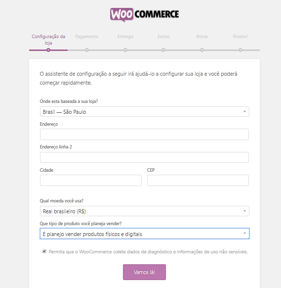 configurando woocommerce no wordpress
