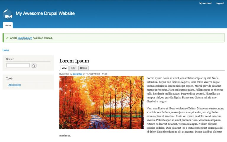 Article published in drupal