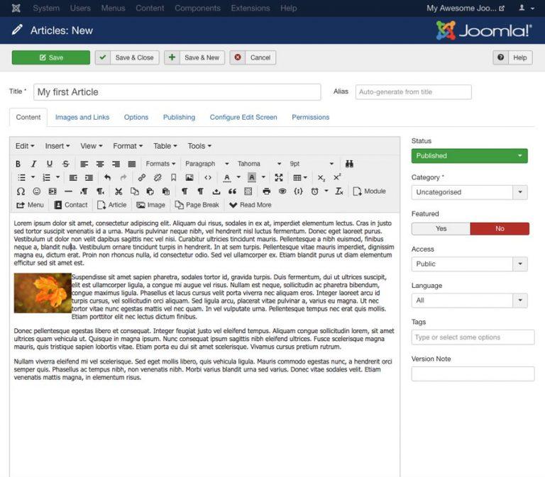 Tutorial Joomla - adicionando artigos