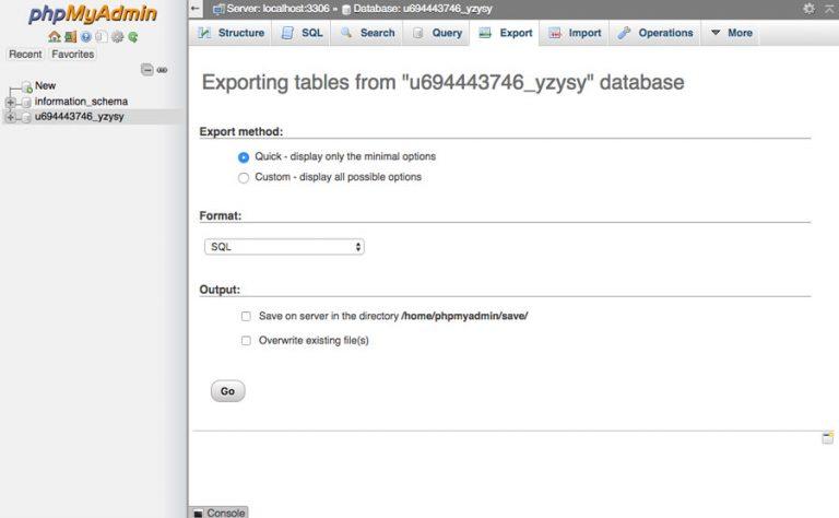 exportat php admin joomla
