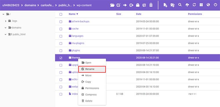 renomear pasta plugin gerenciador de arquivos