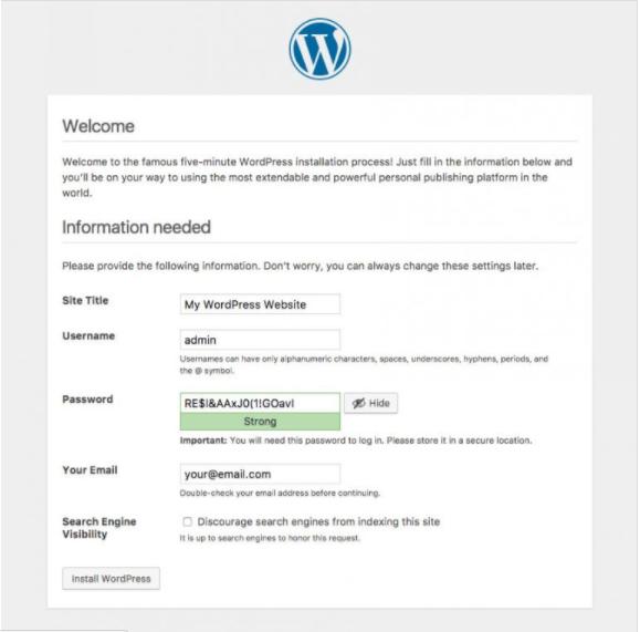 wordpress instalado via ftp