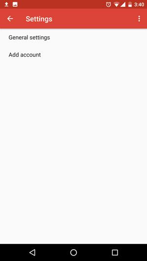 Botão de adicionar conta de e-mail no Android