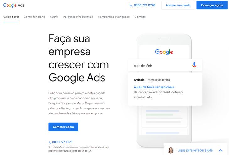 pagina inicial do google ads