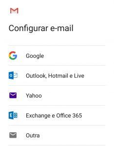 configurar email no Gmail