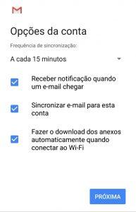 opções de conta no email Gmail