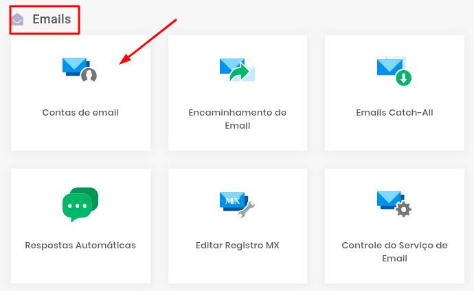 seção de emails no painel hpanel