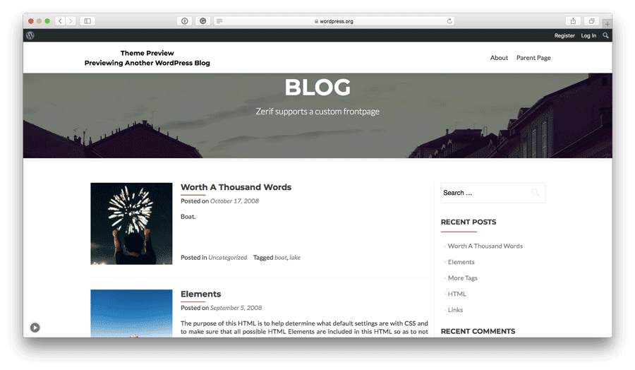 Tema WordPress Zerif Lite