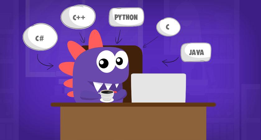 Drago estudando alguns tipos de linguagens sobre como programar