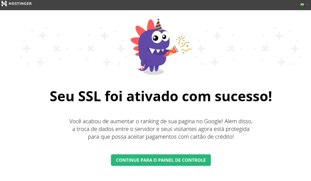 Confirmação de que o SSL foi ativado com sucesso em um site
