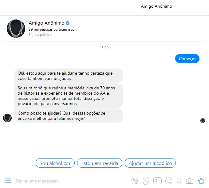 Exemplo de chatbot - amigo anônimo
