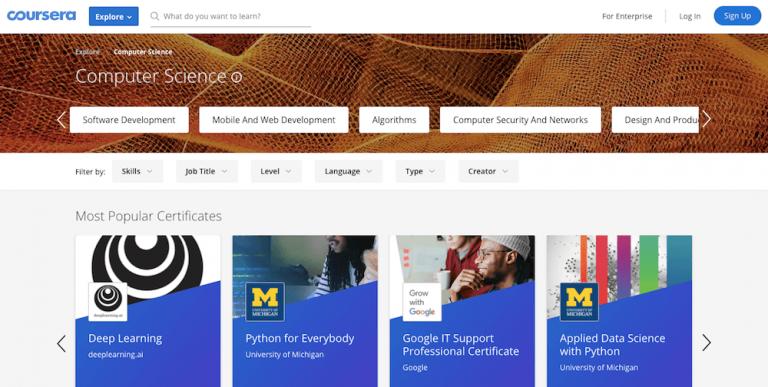 acesse o site coursera para aprender como programar de graça