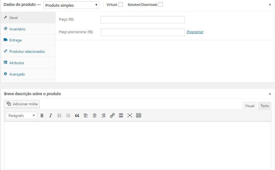 adicionar dados do produto e descrição