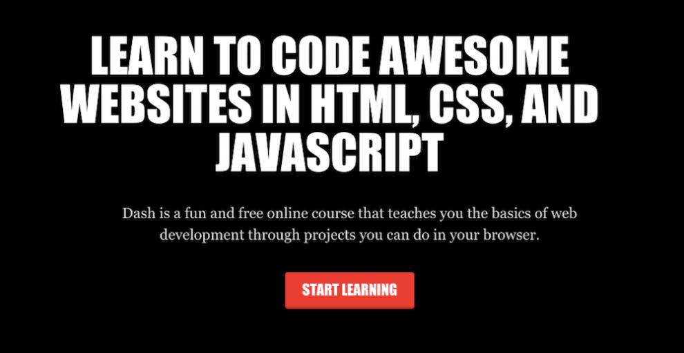 tela inicial do dash general assembly para aprender como programar