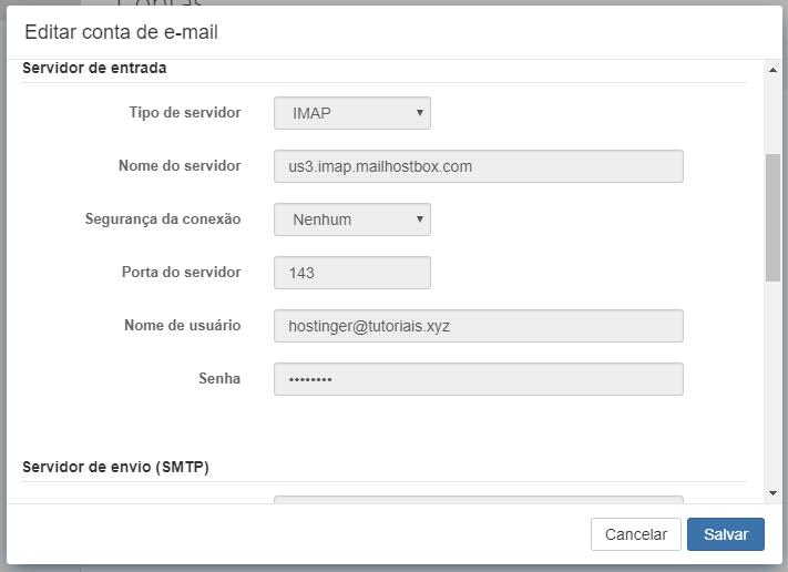 editar conta de email