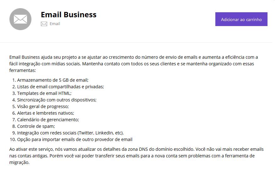 plano de email business da Hostinger
