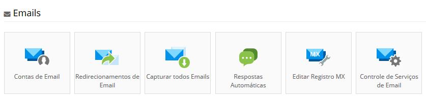 seção de emails no painel de controle da hostinger