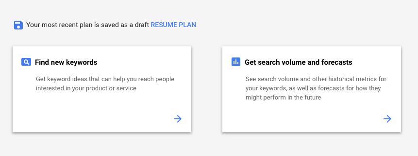 ferramenta de palavra chave Google Keyword Planner