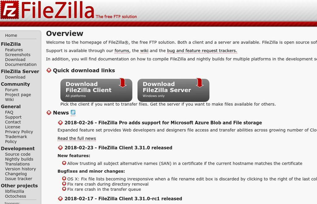O FileZilla é um dos clientes FTP mais populares do mundo