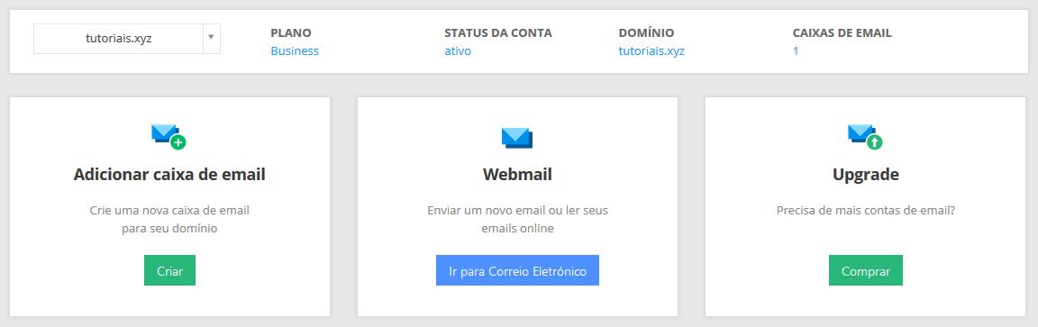 gerenciar conta de email