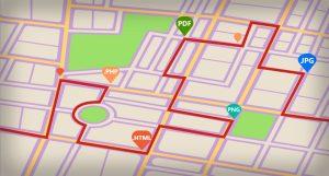 Mapa de linhas de metrô ilustrando como os motores de busca funcionam