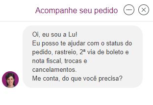 Exemplo de chatbot - Magazine Luiza