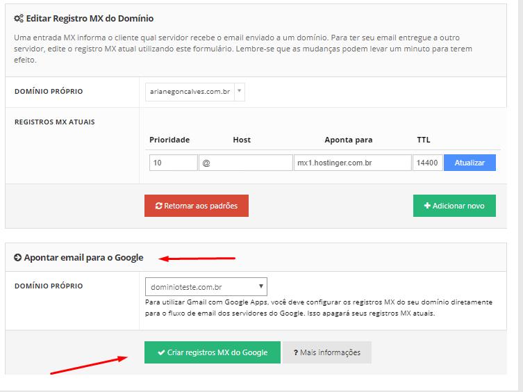 como criar registros mx no google